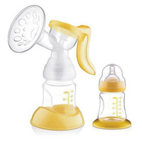 Manual Breast Pump Feeding Pump Baby Milk Silicon PP Material BPA Free With Milk Bottle Yellow White 160ml