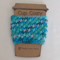 handmade coffee cozy, crochet cup cozy, cup cozy, reusable cozy, bright crochet cup cozy