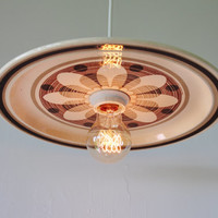 Plate Light - Upcycled Hanging Pendant Lamp featuring a Vintage Royal China SAHARA Pattern Chop Platter - OOAK BootsNGus Lighting Fixture