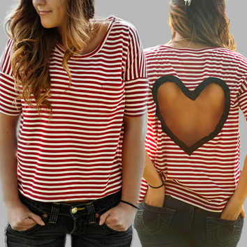 BLACK or GREY  striped Heart Cut out Shirt by BglorifiedBoutique