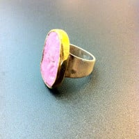 Beautiful sterling silver and 18k gold ring- Ρhodochrosite  ring- Artisan jewelry- Statement ring-Greek art