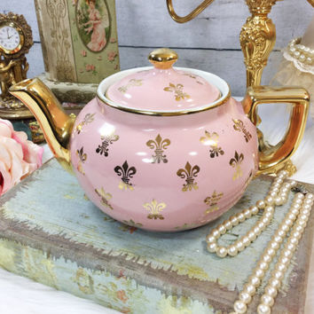 RARE Pink & Gold Le Fleur Hall  6 Cup Gold Accent Full Size Teapot For Tea Party, Wedding, Shower, Tea Time, Wedding, Centerpiece #859