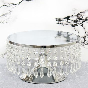 """Silver Cake Stand with Hanging Acrylic Crystals - 5.5"""" Tall x 10"""" Wide"""