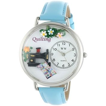SheilaShrubs.com: Unisex Quilting Baby Blue Leather Watch U-0450012 by Whimsical Watches: Watches