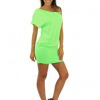 Neon Green Asymmetrical Dress