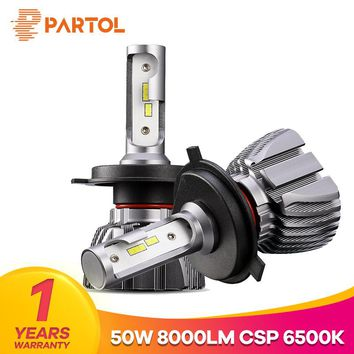 Partol H4 Hi Lo Beam Car LED Headlight Bulbs 50W 8000LM LED H7 H11 9005 9006 H1 H3 Automobile Headlamp Front Light 6500K 12V 24V