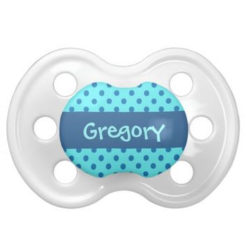 Blue Polka Dots Baby Boy Custom Name P558 Ver7 Baby Pacifiers
