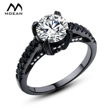 MDEAN Wedding Ring Black Gold Color AAA Zircon Jewelry engagement Bague rings For Women vintage  Size 6 7 8  MSR336