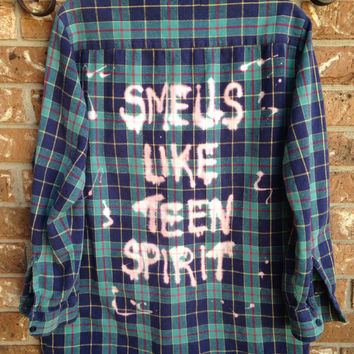 a2b2ff66578a3f Plaid flannel Smells Like Teen Spirit bleached shirt // soft gru