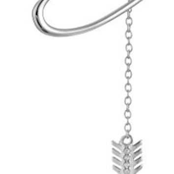 """Sterling Silver Cubic Zirconia Open-Heart and Arrow Lariat Necklace, 16.5""""+2"""" Extender"""
