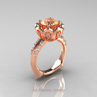 Classic 14K Rose Gold 3.0 Carat Champagne and White Diamond Greek Galatea Bridal Wedding Ring AR114-14KRGDCHD