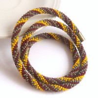Striped rope necklace in burgundy yellow and grey colors, bead crochet necklace with safety magnetic clasp, gift for her for everyday use