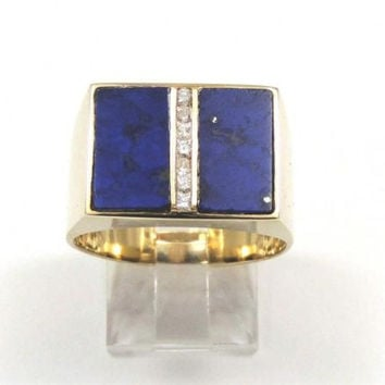 GENUINE NATURAL LAPIS  LAZULI AND DIAMOND RING IN SOLID 14K YELLOW GOLD