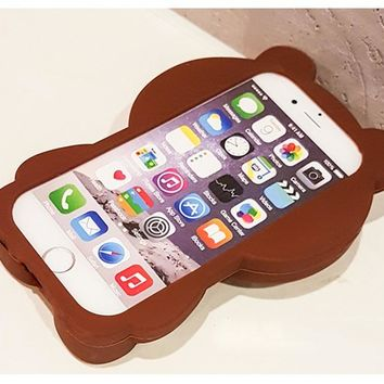 Cute Teddy Bear Coque Soft Silicone Phone Cases For iPhone
