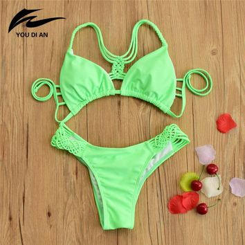2017 New Arrival Sexy Solid Thong Bikini Women Brazilian Swimwear Girls Bikinis Set Green Spandex Beach Swimsuit String Biquini