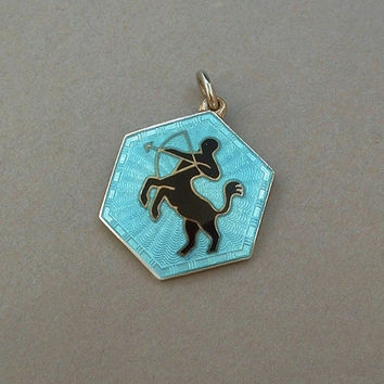 DAVID ANDERSEN Sterling Silver GUILLOCHE Enamel Pendant Sagittarius Zodiac Art Deco Series Norway - Perfect c.1930's