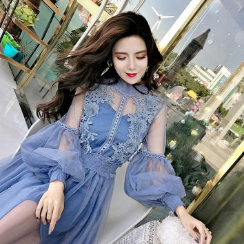 2018 Spring Women Mesh Patchwork Lace Elegant Dresses Girls Long Lantern Sleeve Fairy Chic Dress for Woman