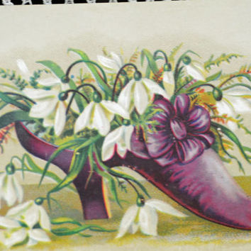 Victorian Trade Card 1880s, Victorian Purple High Heel Shoe, White Flowers, Spring and Easter Appearance  #557 ok