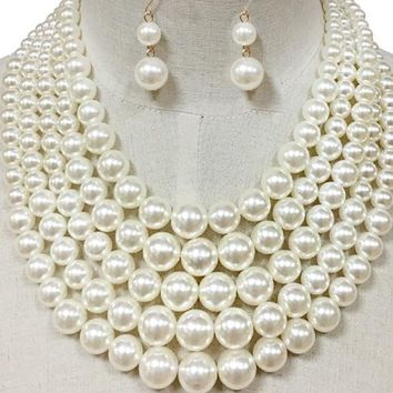 "20"" cream faux pearl multi 5 layer choker bib necklace earrings bridal prom"