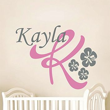 Wall Decals Personalized Name Flowers Vinyl Sticker Decal Custom Name Girls Boys Initial Monogram Children Baby Decor Nursery Kids Room Bedroom Art NS185