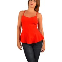 STRAPPED PEPLUM HEM TOP-ID.29654B