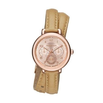 NWT Michael Kors Kohen Brown Leather Double Strap Watch Women MK2406
