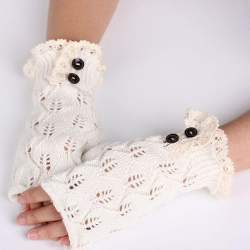 Women Fingerless Lace Knitted Winter Button Hand Wrist Gloves Pretty Stylish Hand Warmer Fashion Female Crochet Knitting Gloves