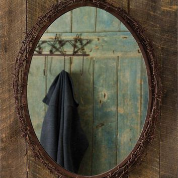 """Old Western Ranch Rustic Barbed Wire Mirror-26"""" x 20.5 """" Lodge Wood-Wall"""