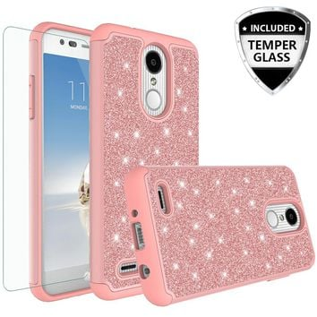 LG Aristo 2 Plus Case, Aristo 2, LV3 2018 Case, LG Tribute Dynasty Glitter Bling Heavy Duty Shock Proof Hybrid Case with [HD Screen Protector] Dual Layer Protective Phone Case Cover for LG Aristo 2 W/Temper Glass - Rose Gold