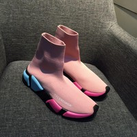 Balenciaga Speed Trainers Stretch Knit Mid Sneakers Pink Style #10 - Best Online Sale