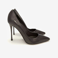 Sergio Rossi Godiva Patent Leather Pointy Toe Pump: Grey-All-Shoes-Categories- IntermixOnline.com