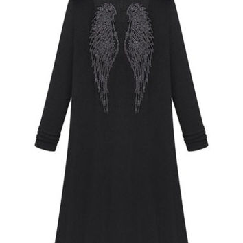 Studded Wings Pattern Maxi Long Sleeve Cardigan