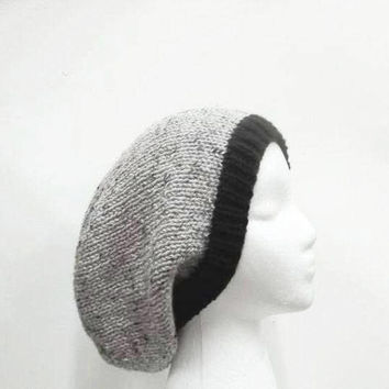 Slouch hat gray with marble flecks and black brim  5093