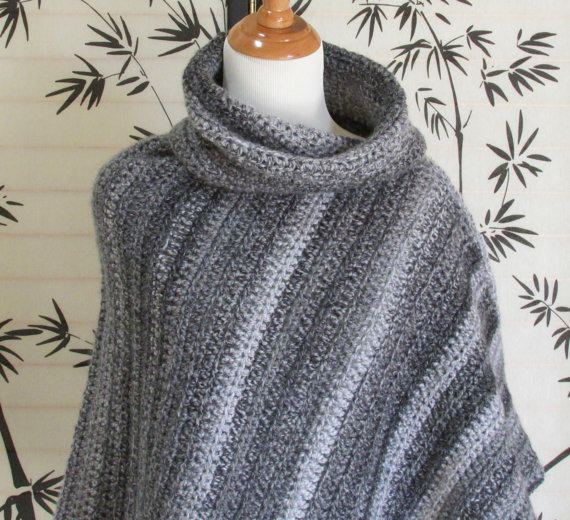 Womens Cowl Neck Poncho Black Gray And From Knitwhats On Etsy