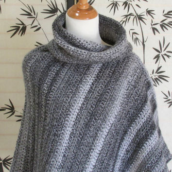 Womens Cowl Neck Poncho, Black, Gray and White, Marble Colors, Cape Crochet