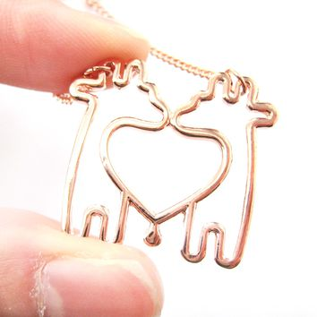 Double Giraffe Outline Heart Shaped Animal Pendant Necklace in Copper