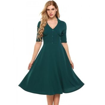 Vintage Style Half Sleeve Fit And Flare Dress