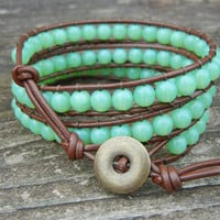 Beaded Leather 3 Wrap Bracelet with Green Adventurine Beads on Brown Leather