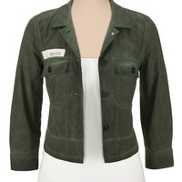 Silver Jeans ® Military Style Cropped Jacket - Olive