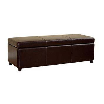 Baxton Studio Dark Brown Full Leather Storage Bench Ottoman with Stitching  Set of 1