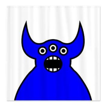 Kawaii Blue Alien Monster Shower Curtain> Blue / Turquoise Illustration Gifts> Hippy Gift Shop Funky Hippie Gifts