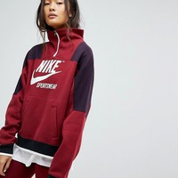Nike Archive Half Zip Pullover Sweatshirt In Burgundy at asos.com