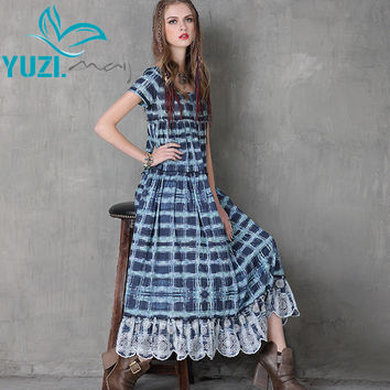 Women Dress 2017 Yuzi.may Vintage Cotton Dresses Short Sleeve O-Neck Swing Hem Floral Print Plaid Dress A8116 Vestidos