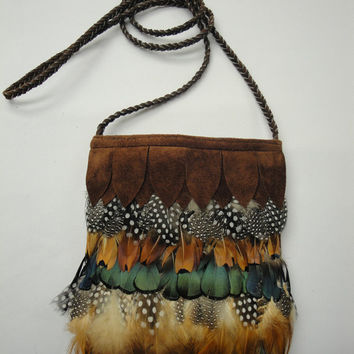 Feather Suede Hip Bag,Leather Purse,Shoulder Bag