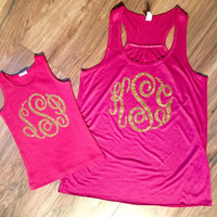 Mommy and Me Monogram Shirts - Gold Glitter Monogram - Mommy and Me - Matching Shirts