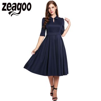 Zeagoo 2018 Elegant Women Vintage Style Peter Pan Collar Half Sleeve Evening Party Swing Dress Vestidos de Verano Plus Size