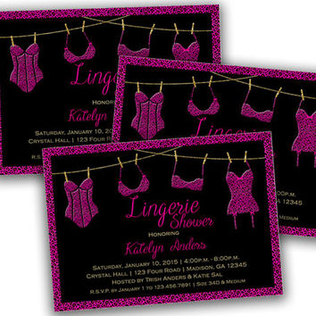 Lingerie Shower Invitations, Lingerie Shower, Pink, Leopard, Pink Leopard, Corset, Bachelorette Party, Sexy, Bachelorette, Bridal Shower