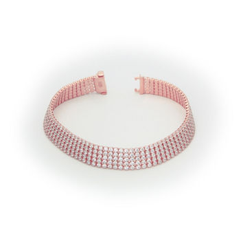 "Silver Pink Plated Five  Row Cz  Tennis Bracelet 7"" Box  box-with-tongue-and-safety"