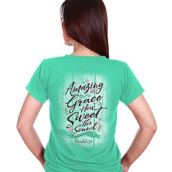 Cherished Girl Amazing Grace How Sweet the Sound Girlie Christian Bright T Shirt