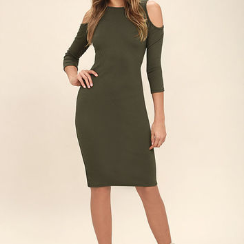 Morning Train Olive Green Bodycon Midi Dress